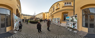 On the yard of the Bishops' Palace in Kraków.  Click to view this panorama in new fullscreen window