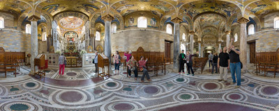 Inside the church of Santa Maria dell'Ammiraglio, commonly called the Martorana, on Piazza Bellini in Palermo, Sicily.  Click to view this panorama in new fullscreen window