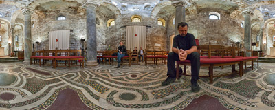 Inside the church of San Cataldo in Palermo, Sicily, a notable example of the Arabian-Norman architecture.  Click to view this panorama in new fullscreen window
