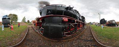 A steam locomotive show in the rolling stock museum in Chabówka.  Click to view this panorama in new fullscreen window