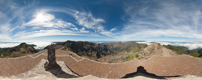 On the summit of Pico Ruivo (1861 m) the highest peak of the Madeira island.  Click to view this panorama in new fullscreen window