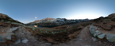 Full moon shining over Dolina Pięciu Stawów Polskich ('Valley of Five Polish Lakes') in the Tatra Mountains.  Click to view this panorama in new fullscreen window