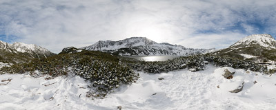 In the Dolina Pięciu Stawów Polskich ('Valley of Five Polish Lakes'), Polish Tatra Mountains.  Click to view this panorama in new fullscreen window