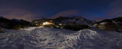 Early winter night by the mountain hut in the Dolina Pięciu Stawów Polskich ('Valley of Five Polish Lakes') in the Tatra Mountains.  Click to view this panorama in new fullscreen window