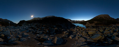 Dolina Pięciu Stawów Polskich ('Valley of Five Polish Lakes') in the Tatra Mountains, lit by the full moon.  Click to view this panorama in new fullscreen window