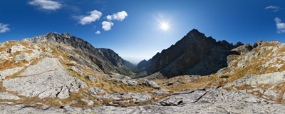 The last part of the trail through Malá Studená dolina to Päš Spišských plies, Slovak Tatra Mountains.  Click to view this panorama in new fullscreen window