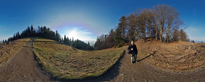 Pieniny meadow near the summit of Trzy Korony in Pieniny Mountains.  Click to view this panorama in new fullscreen window