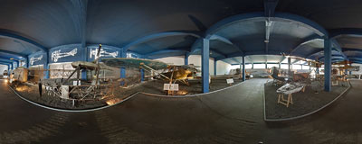 Old aeroplanes in the Polish Aviation Museum in Kraków.  Click to view this panorama in new fullscreen window