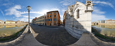 The Lungarno Gambacorti boulevard running along the Arno river in Pisa, Italy.  Click to view this panorama in new fullscreen window