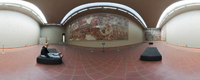 Restored 14th-century frescoes in the Camposanto complex in Pisa, Italy.  Click to view this panorama in new fullscreen window