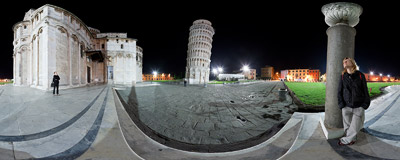 Piazza dei Miracoli in Pisa, Italy, with one of the most famous buildings of the world, the 55 metres tall Leaning Tower.  Click to view this panorama in new fullscreen window