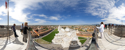 A 15-euro ticket buys you this view from the top of the famous Leaning Tower in Pisa, Italy.  Click to view this panorama in new fullscreen window