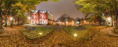 Kraków - Planty gardens in the evening near Collegium Novum, one of the main buildings of the Jagiellonian University.  Click to view this panorama in new fullscreen window