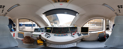 Inside the driver's compartment of so-called {!Papal Train^Papal Train (EN61), an electric multiple unit built in 2006 by the Newag factory in Nowy Sącz.  Click to view this panorama in new fullscreen window