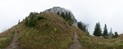 On the trail below the cliffs of Oltschiburg (2234 m) near Axalp in the Swiss Alps.  Click to view this panorama in new fullscreen window