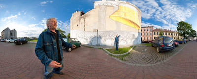 """Never Follow"" - a brand new mural artwork by an Italian street artist Blu, painted on a blind wall in the Kraków's district of Podgórze.  Click to view this panorama in new fullscreen window"