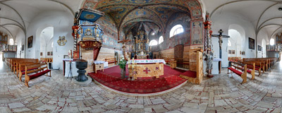 Inside the 13th-century Gothic church of the Assumption of Virgin Mary in Podolínec in Northern Slovakia.  Click to view this panorama in new fullscreen window
