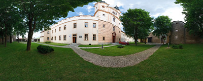 The early-Baroque Piarist monastery and St. Stanislaus' church in Podolínec in Northern Slovakia.  Click to view this panorama in new fullscreen window