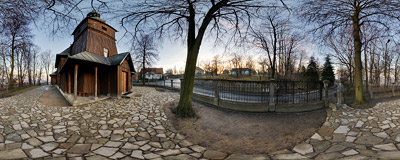 Wooden parish church of Holy Spirit in Podstolice near Kraków.  Click to view this panorama in new fullscreen window