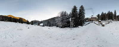A cold morning at Polana Chochołowska in the Western Tatra Mountains.  Click to view this panorama in new fullscreen window