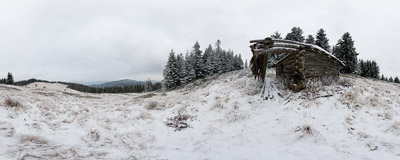 The first winter snow on Polana Mostownica in the Gorce mountain range.  Click to view this panorama in new fullscreen window