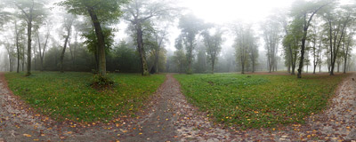 A foggy October morning at Polana pod Dębiną in Kraków's Wolski Forest near the Camaldolese monastery in Bielany.  Click to view this panorama in new fullscreen window