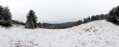 The first winter snow on Polana Podmostownica (940-1040 m) in the Gorce mountain range.  Click to view this panorama in new fullscreen window