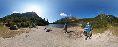 "A pebblestone ""beach"" on the shore of Popradské pleso (1494 m) in Slovak Tatry mountains.  Click to view this panorama in new fullscreen window"