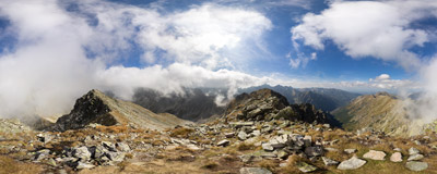 On the summit of Prostredný Svišťový štít, Slovak Tatra Mountains.  Click to view this panorama in new fullscreen window