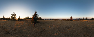 On the summit of Potrójna (884 m) in the Beskid Mały mountain range.  Click to view this panorama in new fullscreen window