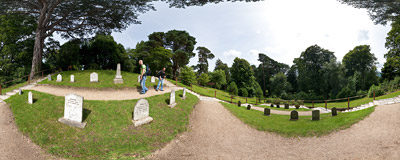 The pets' cemetery in Powerscourt Gardens in Wicklow County, Ireland.  Click to view this panorama in new fullscreen window