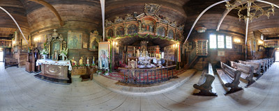 The early 17th-century wooden church of Saint James' in Powroźnik.  Click to view this panorama in new fullscreen window
