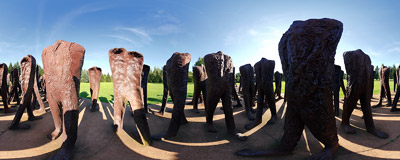 """The Unrecognized"": a 2002 sculpture by Magdalena Abakanowicz in the Cytadela Park in Poznań.  Click to view this panorama in new fullscreen window"