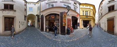 Cat's Gallery in Prague Old Town.  Click to view this panorama in new fullscreen window