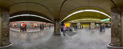 Line A platform, Můstek subway station in Prague.  Click to view this panorama in new fullscreen window