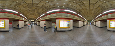 Staroměstská subway station in Prague.  Click to view this panorama in new fullscreen window