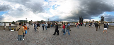 Karlův most (Charles Bridge) in Prague.  Click to view this panorama in new fullscreen window