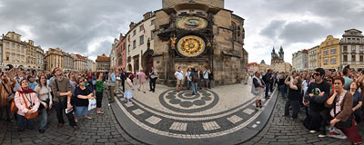 Orloj - Prague astronomical clock.  Click to view this panorama in new fullscreen window