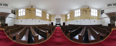Inside the Bethlehem Chapel of Bohemian Brethren church in Prokopova Street 4 in the Prague district of Žižkov.  Click to view this panorama in new fullscreen window