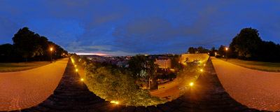 The panorama of Prague from the fortified wall of the Vyšehrad Hill.  Click to view this panorama in new fullscreen window