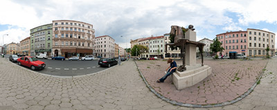 The statue of writer Jaroslav Hašek (1883-1923) on Prokopova Street in the Prague district of Žižkov.  Click to view this panorama in new fullscreen window