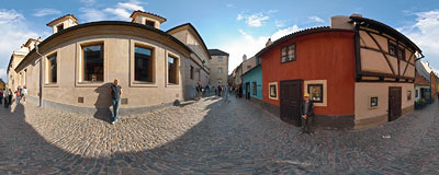 Golden Lane in the Prague Castle.  Click to view this panorama in new fullscreen window