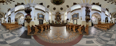 Inside the 18th-century Baroque church of St. Michael the Archangel in Prudnik.  Click to view this panorama in new fullscreen window