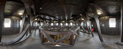 Inside the Wok's Tower, the 13th-century stone keep in Prudnik.  Click to view this panorama in new fullscreen window