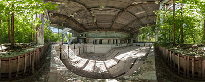"The derelict ""Azure"" (Лазурный) swimming pool in Pripyat, an abandoned city near the Chernobyl nuclear power plant, Ukraine.  Click to view this panorama in new fullscreen window"