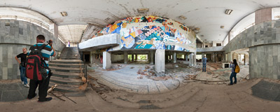 "The entrance hall of the ""Energetik"" Palace of Culture in Pripyat, Ukraine.  Click to view this panorama in new fullscreen window"