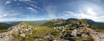 On the ridge of Predný Salatín high above the Roháčska Valley in Slovak Tatra mountains.  Click to view this panorama in new fullscreen window
