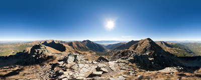 On the summit of Prvá kopa (cca 2130 m) in Slovak Tatra mountains.  Click to view this panorama in new fullscreen window