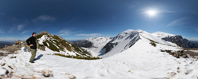 Kondracka Pass (1722 m) in the Tatra Mountains.  Click to view this panorama in new fullscreen window