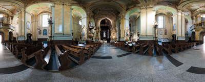 Inside the Cathedral church in Przemyśl.  Click to view this panorama in new fullscreen window